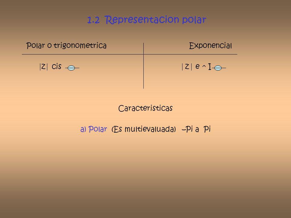 1.2 Representacion polar Polar o trigonometrica Exponencial z cis z e ^ I Caracteristicas a) Polar (Es multievaluada) –Pi a Pi