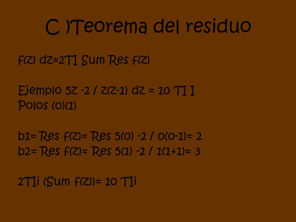C )Teorema del residuo f(z) dz=2TI Sum Res f(z) Ejemplo 5z -2 / z(z-1) dz = 10 TI I Polos (0)(1) b1= Res f(z)= Res 5(0) -2 / 0(0-1)= 2 b2= Res f(z)= R