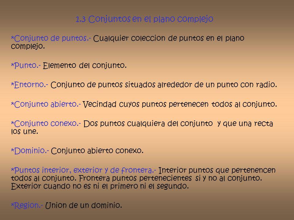 1.3 Conjuntos en el plano complejo *Conjunto de puntos.- Cualquier coleccion de puntos en el plano complejo. *Punto.- Elemento del conjunto. *Entorno.