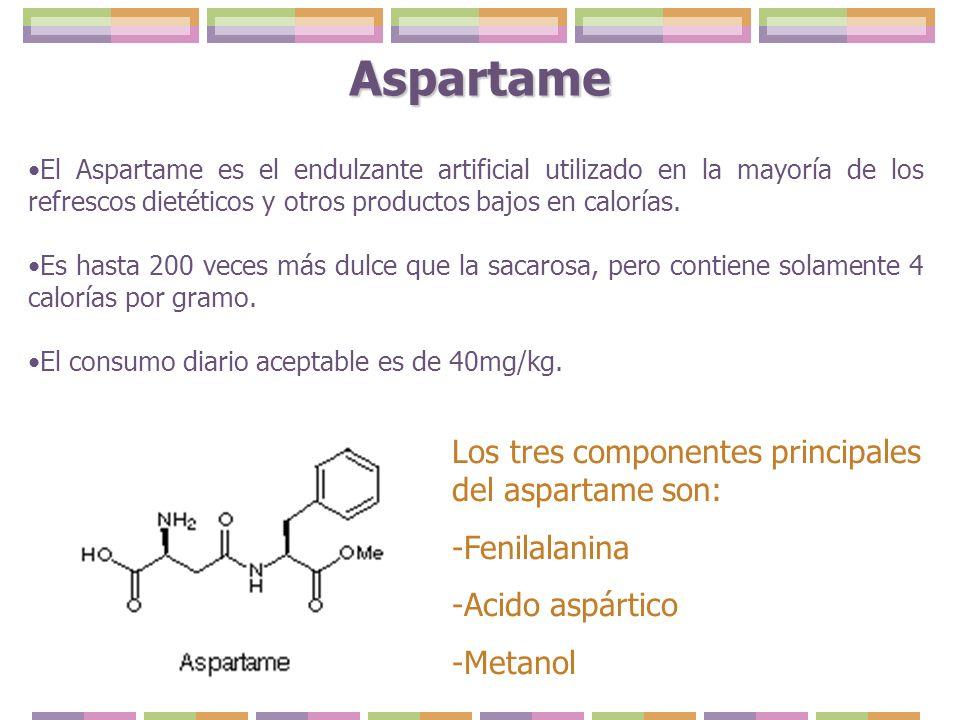 Aspartame El Aspartame es el endulzante artificial utilizado en la mayoría de los refrescos dietéticos y otros productos bajos en calorías. Es hasta 2