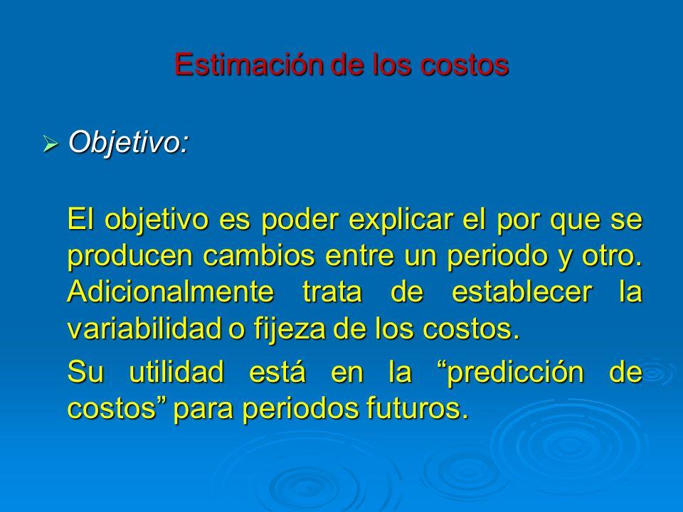 Estimación de los costos Objetivo: Objetivo: El objetivo es poder explicar el por que se producen cambios entre un periodo y otro. Adicionalmente trat