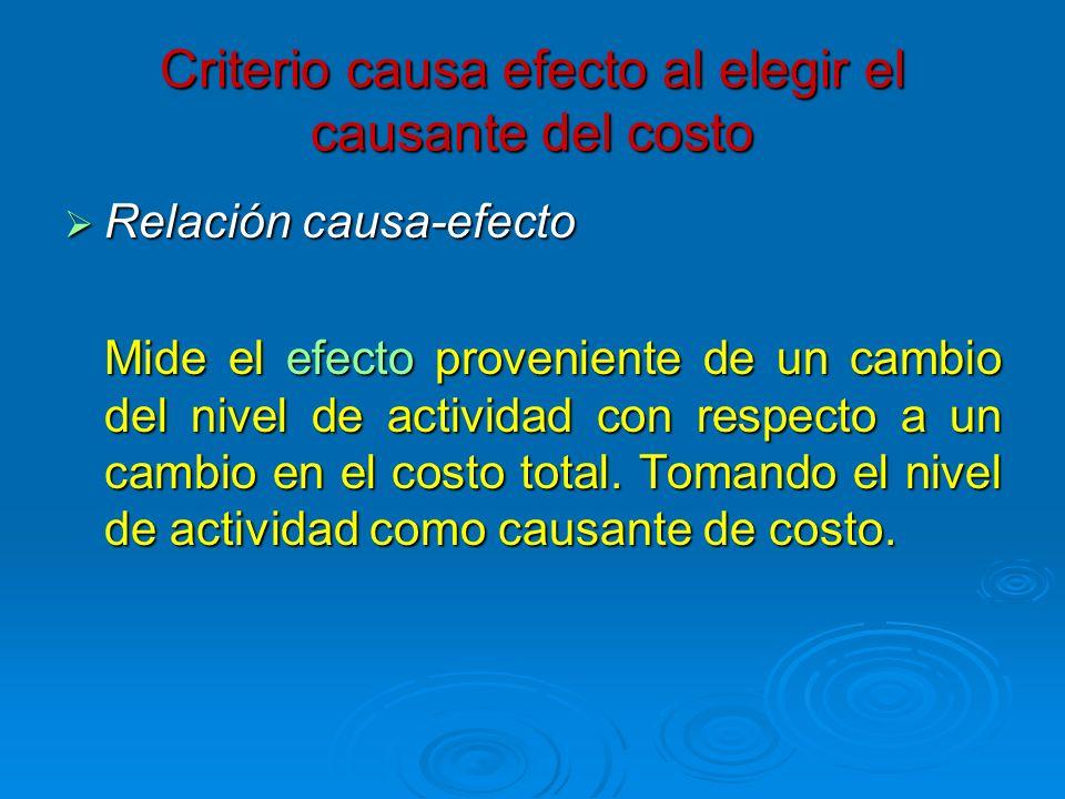 Criterio causa efecto al elegir el causante del costo Relación causa-efecto Relación causa-efecto Mide el efecto proveniente de un cambio del nivel de
