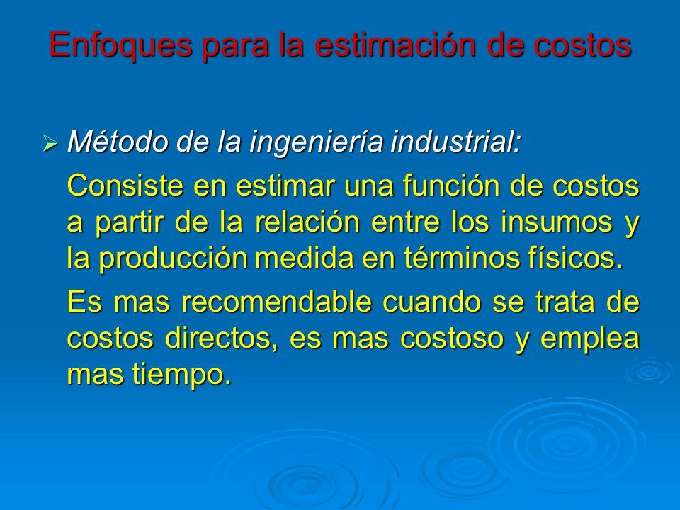 Enfoques para la estimación de costos Método de la ingeniería industrial: Método de la ingeniería industrial: Consiste en estimar una función de costo