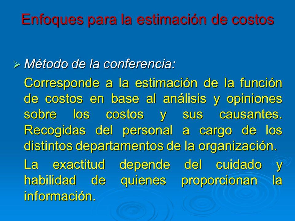 Enfoques para la estimación de costos Método de la conferencia: Método de la conferencia: Corresponde a la estimación de la función de costos en base