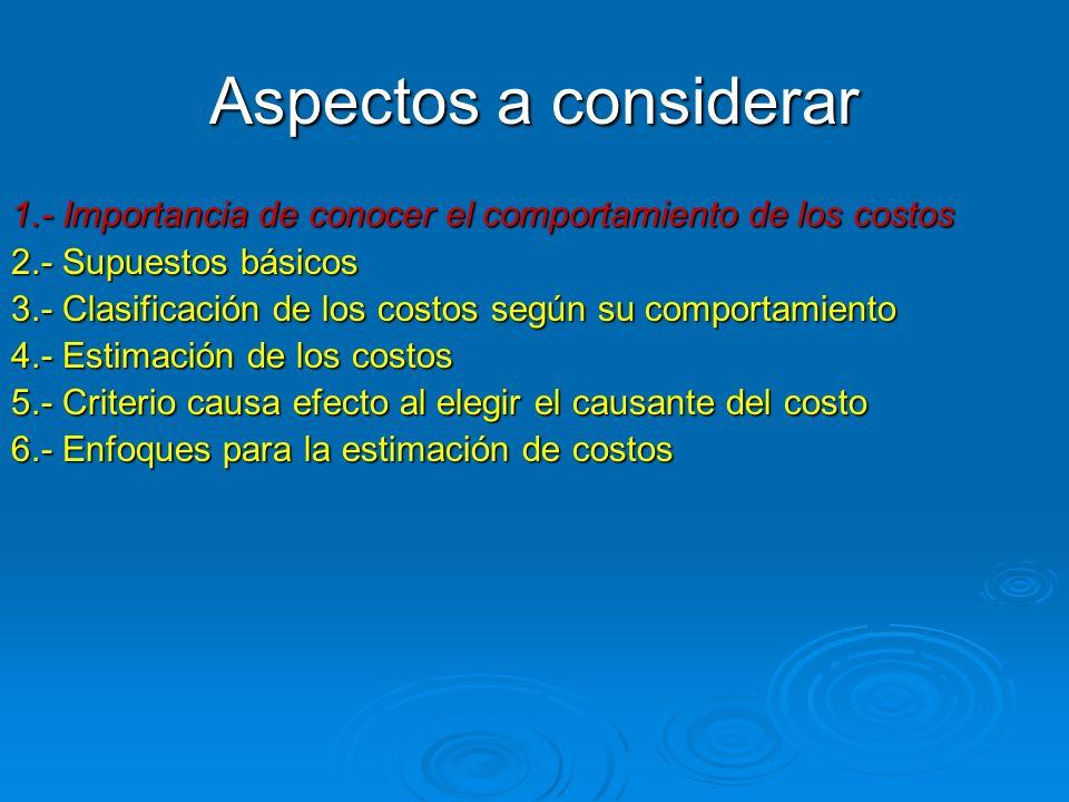 Aspectos a considerar 1.- Importancia de conocer el comportamiento de los costos 2.- Supuestos básicos 3.- Clasificación de los costos según su compor
