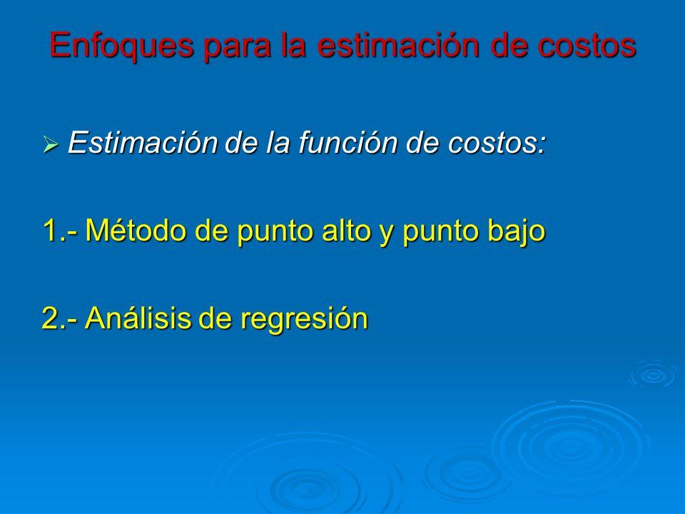 Enfoques para la estimación de costos Estimación de la función de costos: Estimación de la función de costos: 1.- Método de punto alto y punto bajo 2.