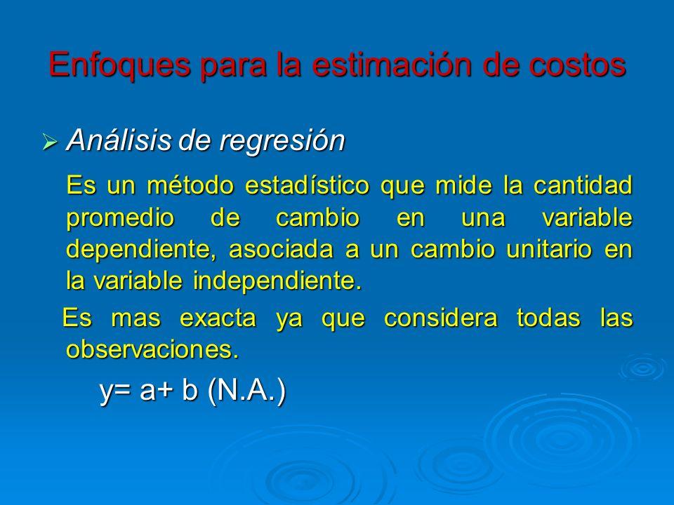 Análisis de regresión Análisis de regresión Es un método estadístico que mide la cantidad promedio de cambio en una variable dependiente, asociada a u