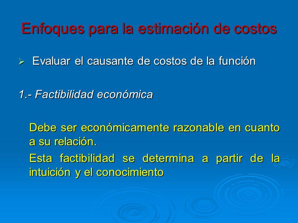 Enfoques para la estimación de costos Evaluar el causante de costos de la función Evaluar el causante de costos de la función 1.- Factibilidad económi