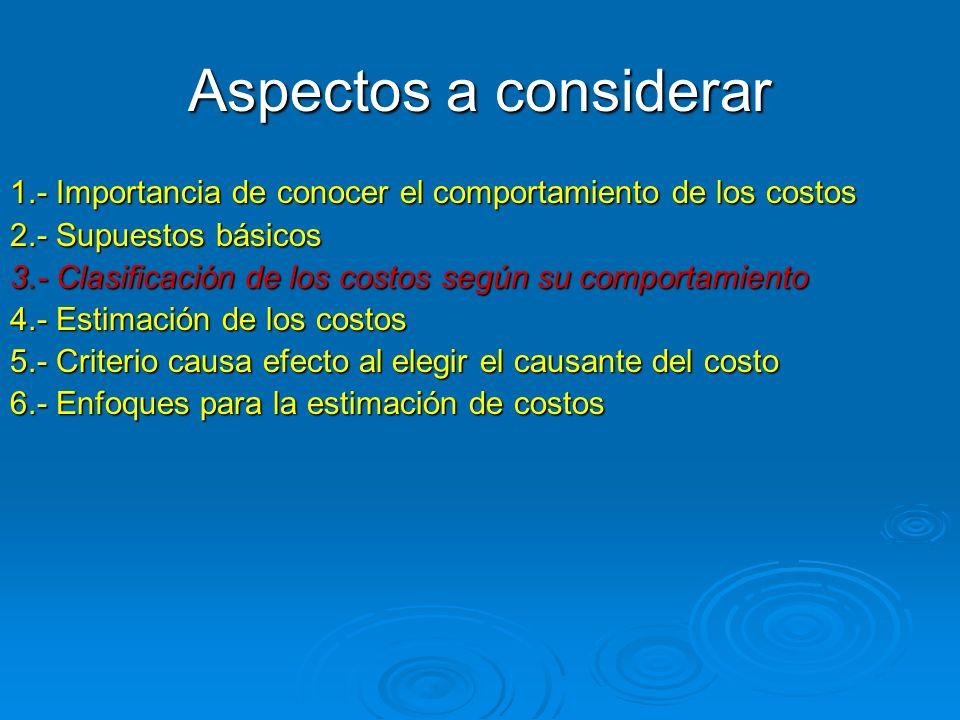 Aspectos importantes en la clasificación de los costos (fijo/variable) Aspectos importantes en la clasificación de los costos (fijo/variable) 1.-Elección del objeto de costos; el costo puede ser fijo o variable dependiendo del objeto de costo.