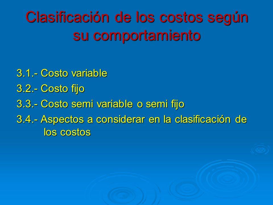Clasificación de los costos según su comportamiento 3.1.- Costo variable 3.2.- Costo fijo 3.3.- Costo semi variable o semi fijo 3.4.- Aspectos a consi