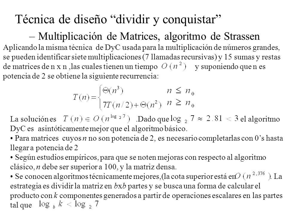 Técnica de diseño dividir y conquistar –Multiplicación de Matrices, algoritmo de Strassen Aplicando la misma técnica de DyC usada para la multiplicaci