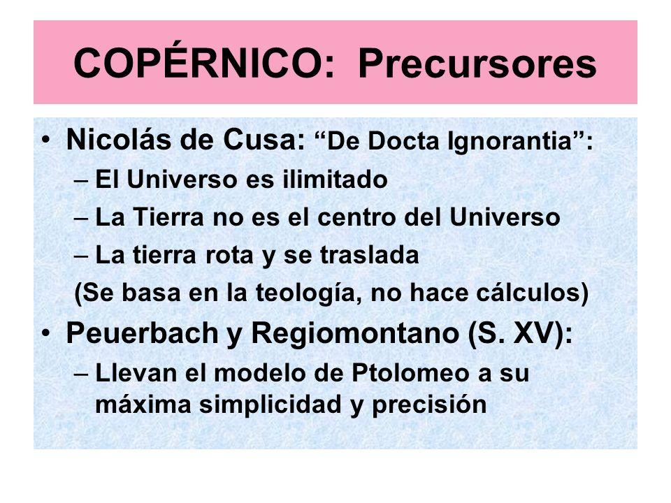 COPÉRNICO: Precursores Nicolás de Cusa: De Docta Ignorantia: –El Universo es ilimitado –La Tierra no es el centro del Universo –La tierra rota y se tr