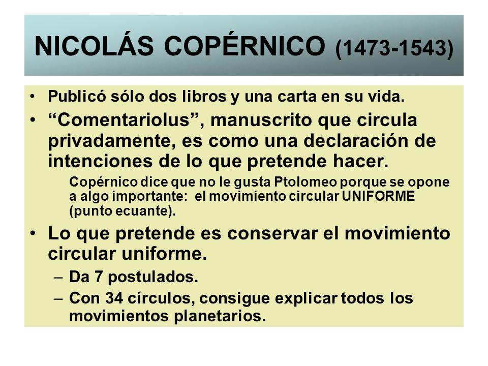 NICOLÁS COPÉRNICO (1473-1543) Publicó sólo dos libros y una carta en su vida. Comentariolus, manuscrito que circula privadamente, es como una declarac
