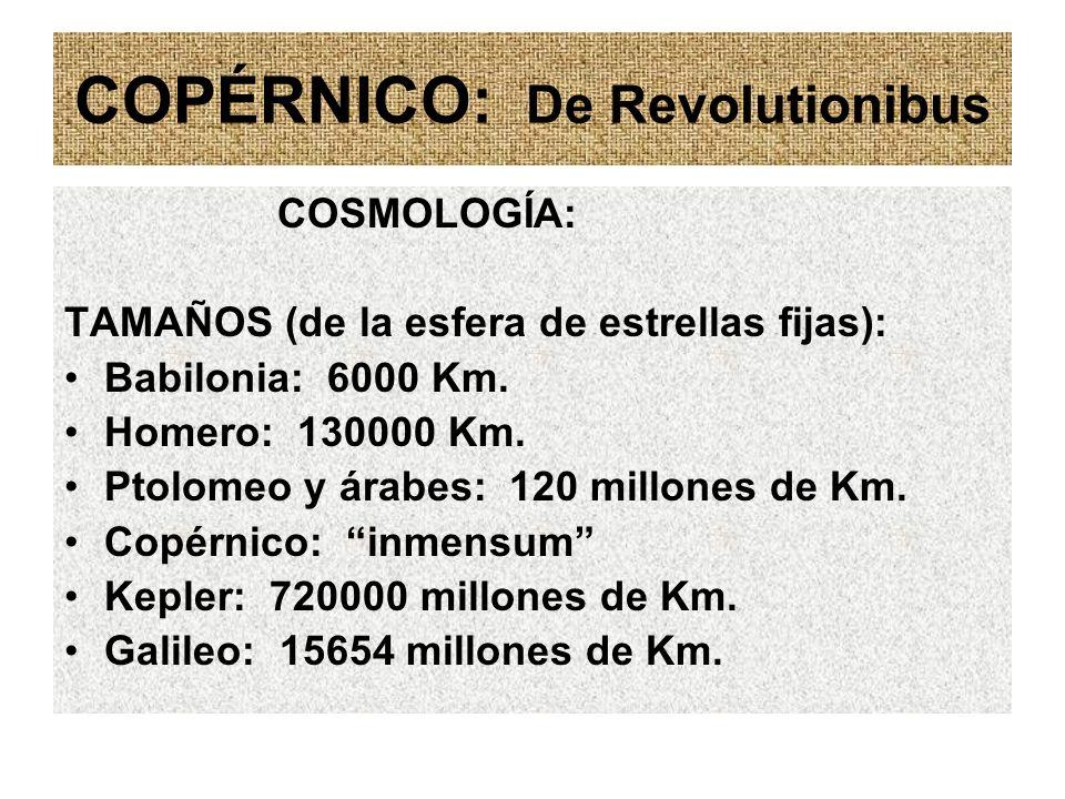 COPÉRNICO: De Revolutionibus COSMOLOGÍA: TAMAÑOS (de la esfera de estrellas fijas): Babilonia: 6000 Km. Homero: 130000 Km. Ptolomeo y árabes: 120 mill
