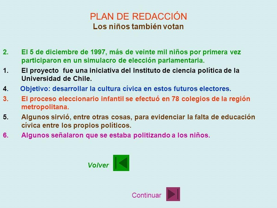 PLAN DE REDACCIÓN Los niños también votan 1.El proyecto fue una iniciativa del Instituto de ciencia política de la Universidad de Chile. 2.El 5 de dic