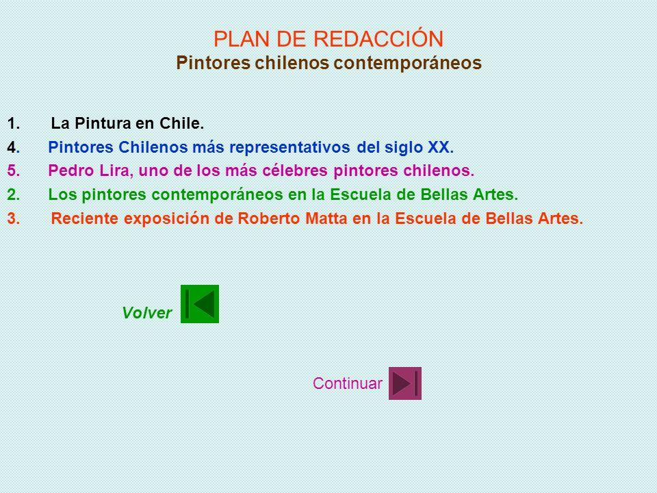 PLAN DE REDACCIÓN Pintores chilenos contemporáneos 1.La Pintura en Chile. 2.Los pintores contemporáneos en la Escuela de Bellas Artes. 3.Reciente expo