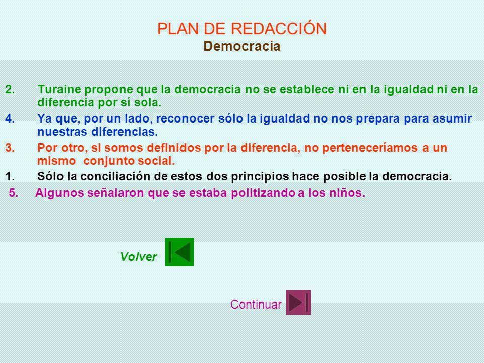 PLAN DE REDACCIÓN Democracia 1.Sólo la conciliación de estos dos principios hace posible la democracia. 2.Turaine propone que la democracia no se esta