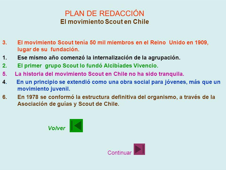 PLAN DE REDACCIÓN El movimiento Scout en Chile 1.Ese mismo año comenzó la internalización de la agrupación. 2.El primer grupo Scout lo fundó Alcibíade