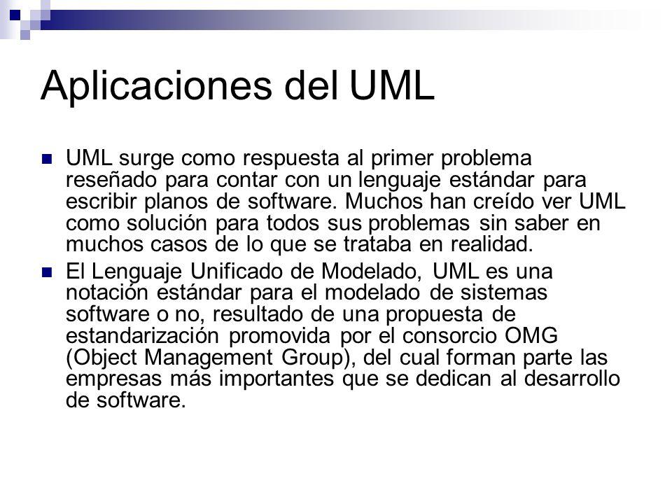 Aplicaciones del UML UML surge como respuesta al primer problema reseñado para contar con un lenguaje estándar para escribir planos de software. Mucho