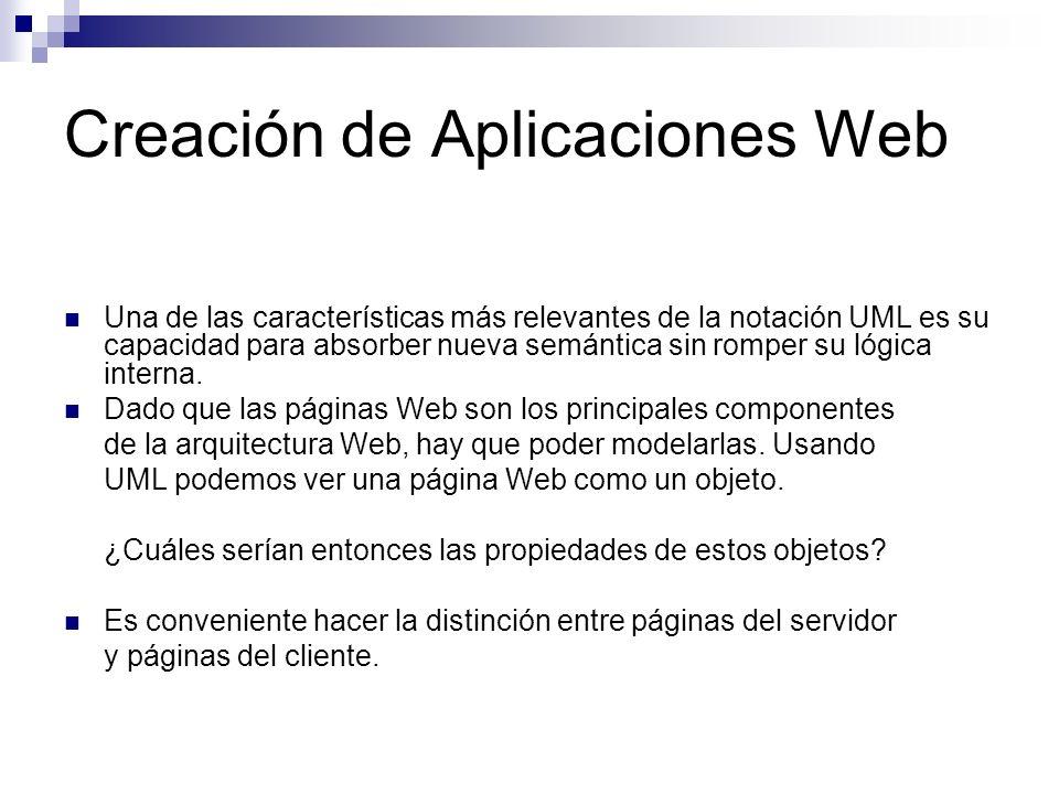 Creación de Aplicaciones Web Una de las características más relevantes de la notación UML es su capacidad para absorber nueva semántica sin romper su