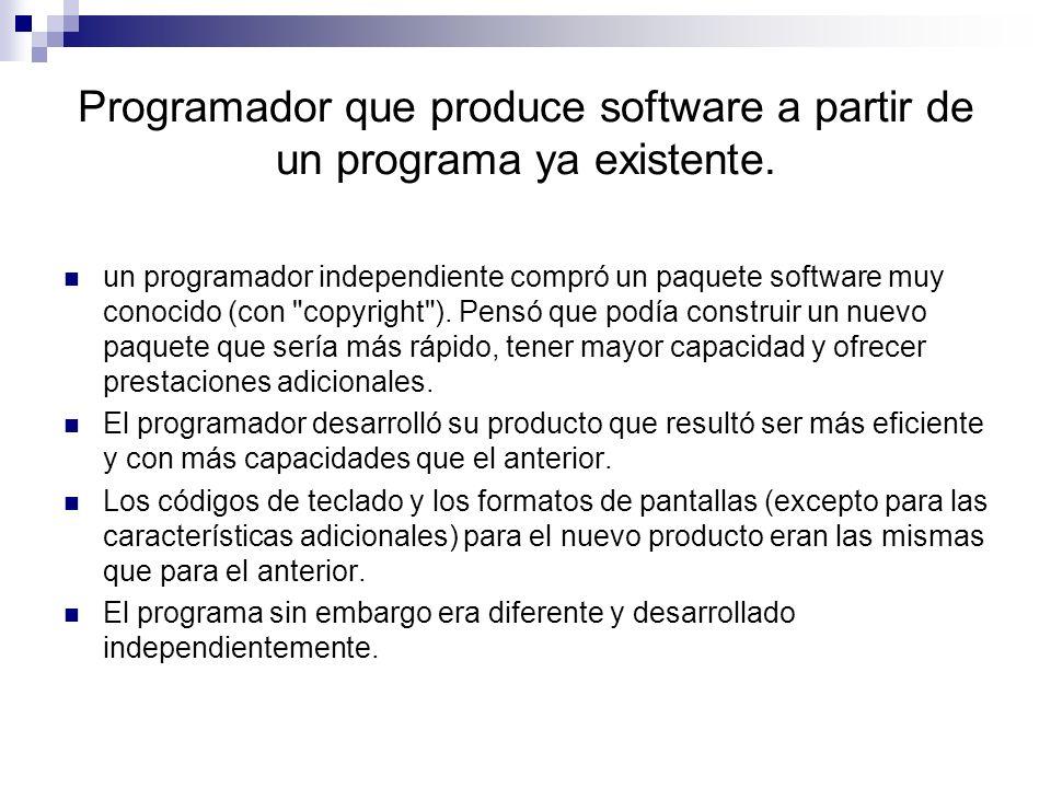 Programador que produce software a partir de un programa ya existente. un programador independiente compró un paquete software muy conocido (con