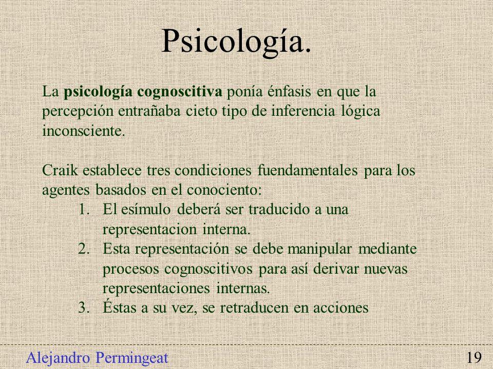 Alejandro Permingeat 19 Psicología. La psicología cognoscitiva ponía énfasis en que la percepción entrañaba cieto tipo de inferencia lógica inconscien