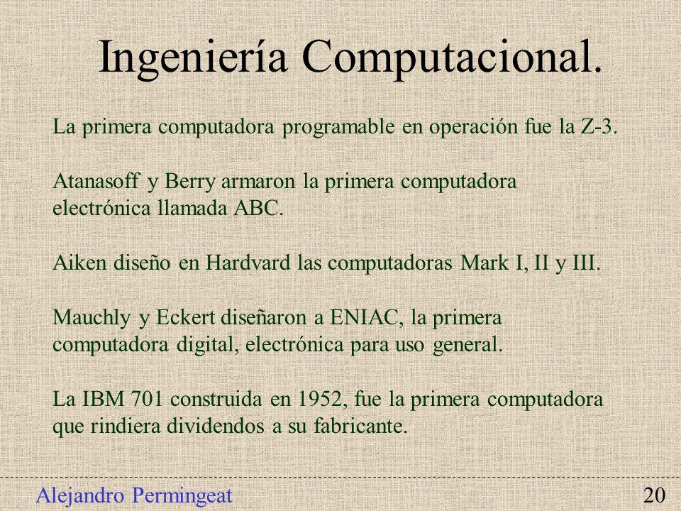 Alejandro Permingeat 20 Ingeniería Computacional. La primera computadora programable en operación fue la Z-3. Atanasoff y Berry armaron la primera com