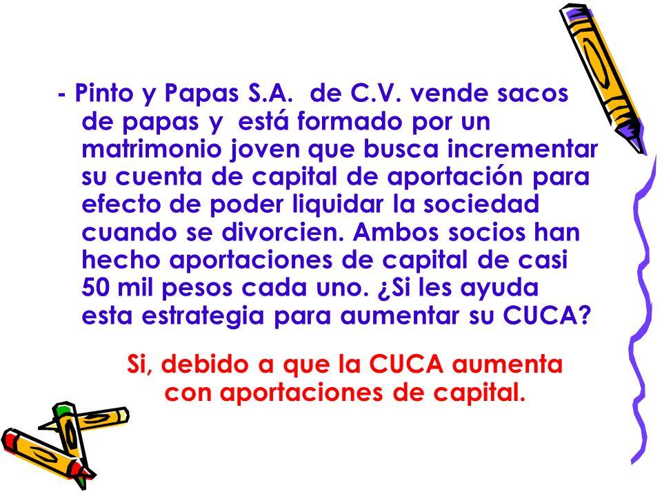 RESPUESTA No, ni la reinversión de dividendos o utilidades ni la capitalización de utilidades se adicionaran a la cuenta de capital de aportación.