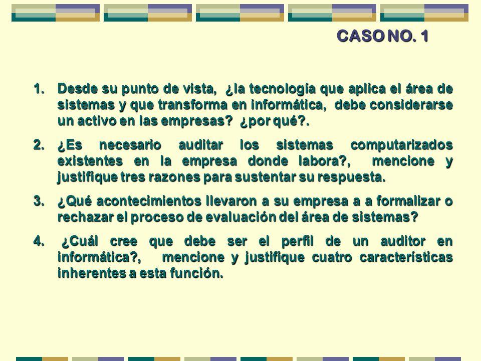 CASO NO. 1 1.Desde su punto de vista, ¿la tecnología que aplica el área de sistemas y que transforma en informática, debe considerarse un activo en la