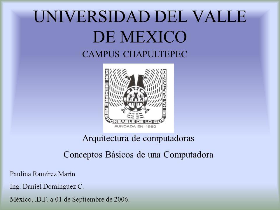 UNIVERSIDAD DEL VALLE DE MEXICO CAMPUS CHAPULTEPEC Arquitectura de computadoras Conceptos Básicos de una Computadora Paulina Ramírez Marín Ing. Daniel