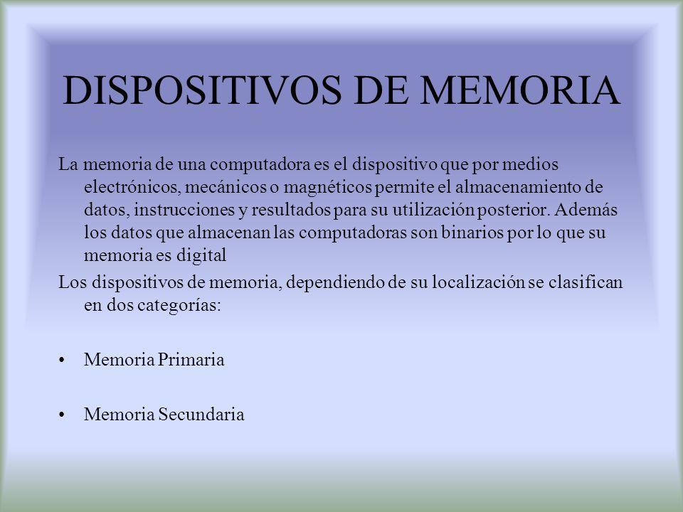 DISPOSITIVOS DE MEMORIA La memoria de una computadora es el dispositivo que por medios electrónicos, mecánicos o magnéticos permite el almacenamiento