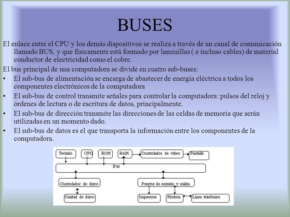 BUSES El enlace entre el CPU y los demás dispositivos se realiza a través de un canal de comunicación llamado BUS, y que físicamente está formado por