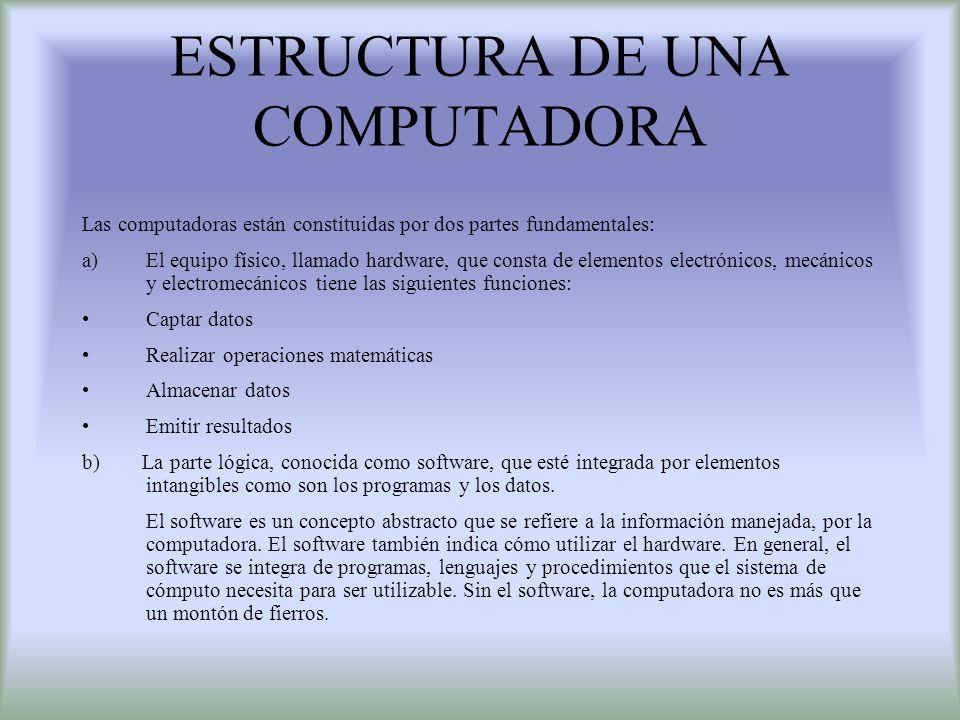 ESTRUCTURA DE UNA COMPUTADORA Las computadoras están constituidas por dos partes fundamentales: a)El equipo físico, llamado hardware, que consta de el