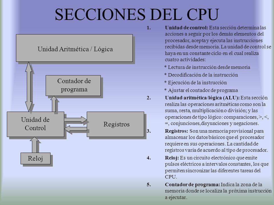 SECCIONES DEL CPU 1.Unidad de control: Esta sección determina las acciones a seguir por los demás elementos del procesador, acepta y ejecuta las instr