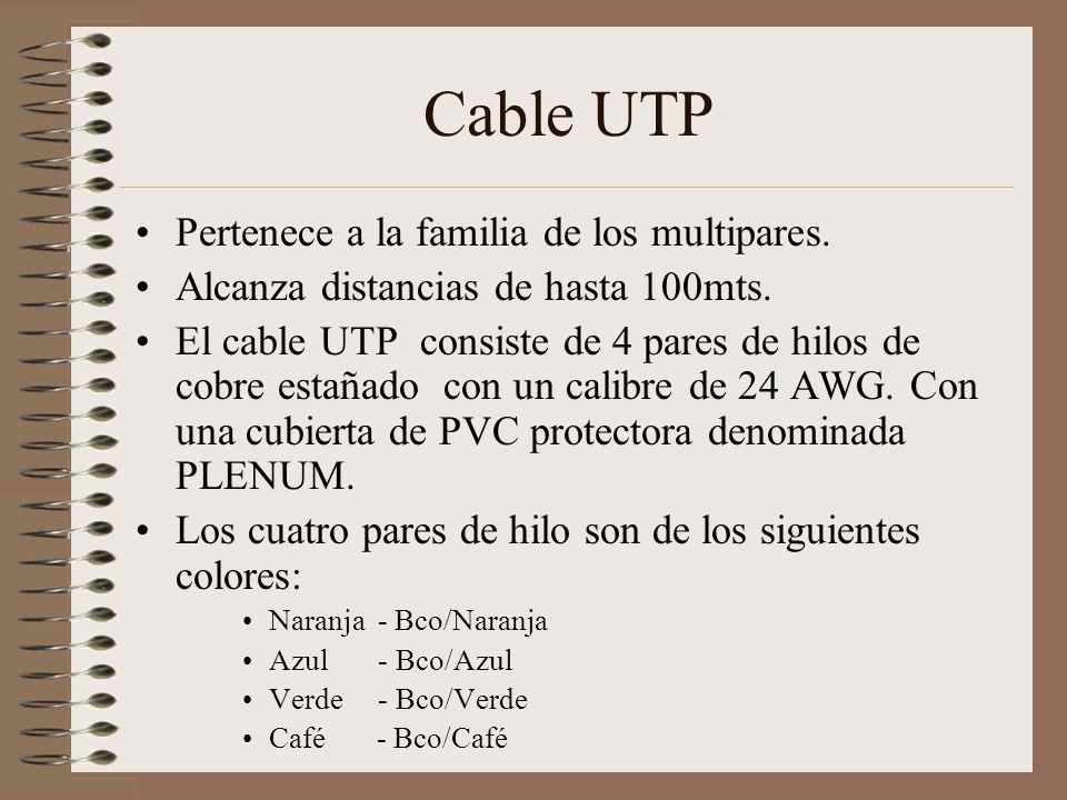 Cable UTP Pertenece a la familia de los multipares. Alcanza distancias de hasta 100mts. El cable UTP consiste de 4 pares de hilos de cobre estañado co