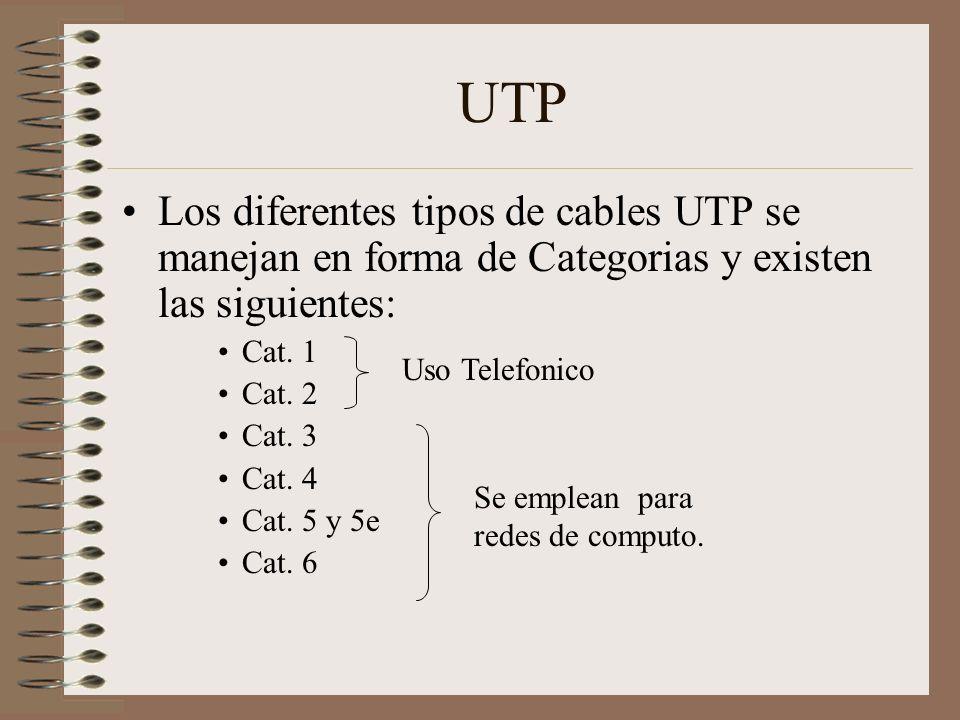 UTP Los diferentes tipos de cables UTP se manejan en forma de Categorias y existen las siguientes: Cat. 1 Cat. 2 Cat. 3 Cat. 4 Cat. 5 y 5e Cat. 6 Uso
