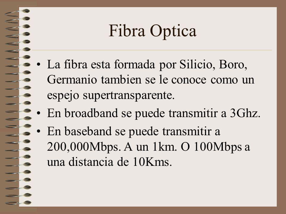 Fibra Optica La fibra esta formada por Silicio, Boro, Germanio tambien se le conoce como un espejo supertransparente. En broadband se puede transmitir