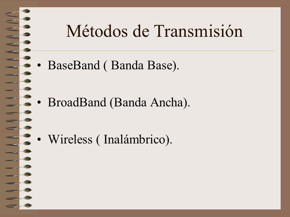Métodos de Transmisión BaseBand ( Banda Base). BroadBand (Banda Ancha). Wireless ( Inalámbrico).