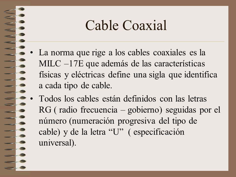 Cable Coaxial La norma que rige a los cables coaxiales es la MILC –17E que además de las características físicas y eléctricas define una sigla que ide