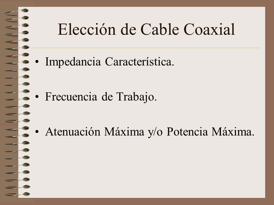 Elección de Cable Coaxial Impedancia Característica. Frecuencia de Trabajo. Atenuación Máxima y/o Potencia Máxima.