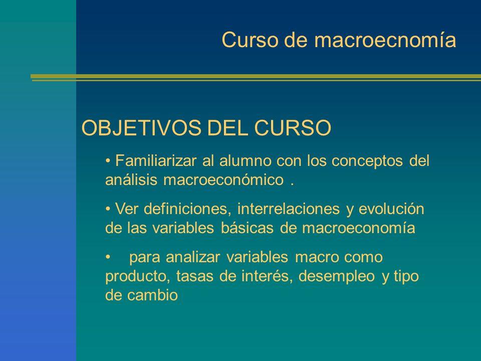 Curso de Macroecnomía INTRODUCCIÓN ¿ Que es la Macroenomía? Empleo Inflación Contabilidad Nacional