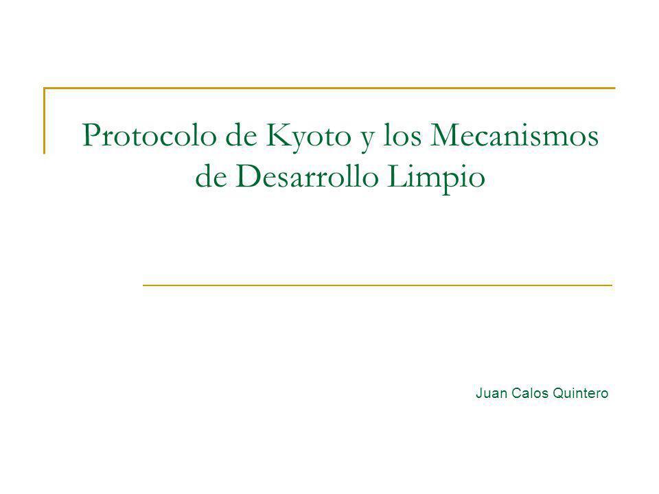 Protocolo de Kyoto y los Mecanismos de Desarrollo Limpio Juan Calos Quintero