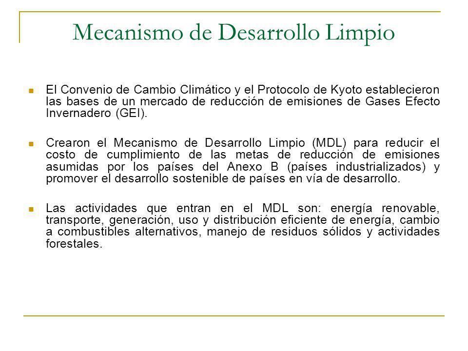 Mecanismo de Desarrollo Limpio El Convenio de Cambio Climático y el Protocolo de Kyoto establecieron las bases de un mercado de reducción de emisiones de Gases Efecto Invernadero (GEI).