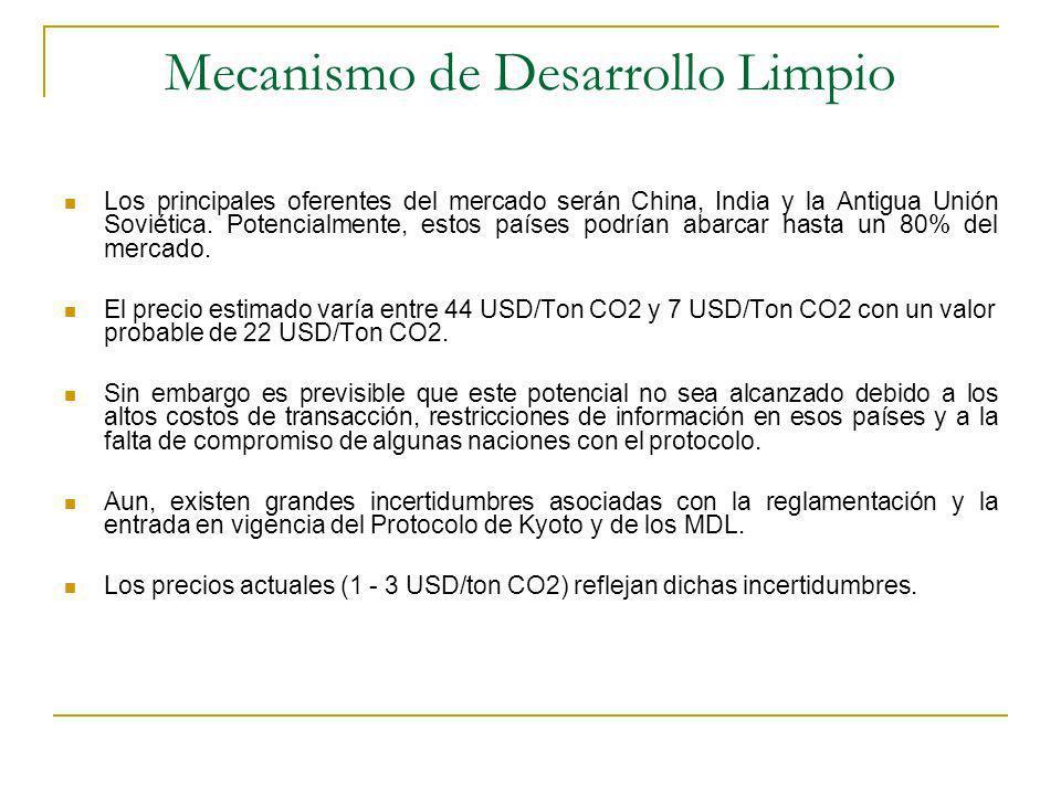 Mecanismo de Desarrollo Limpio Los principales oferentes del mercado serán China, India y la Antigua Unión Soviética.