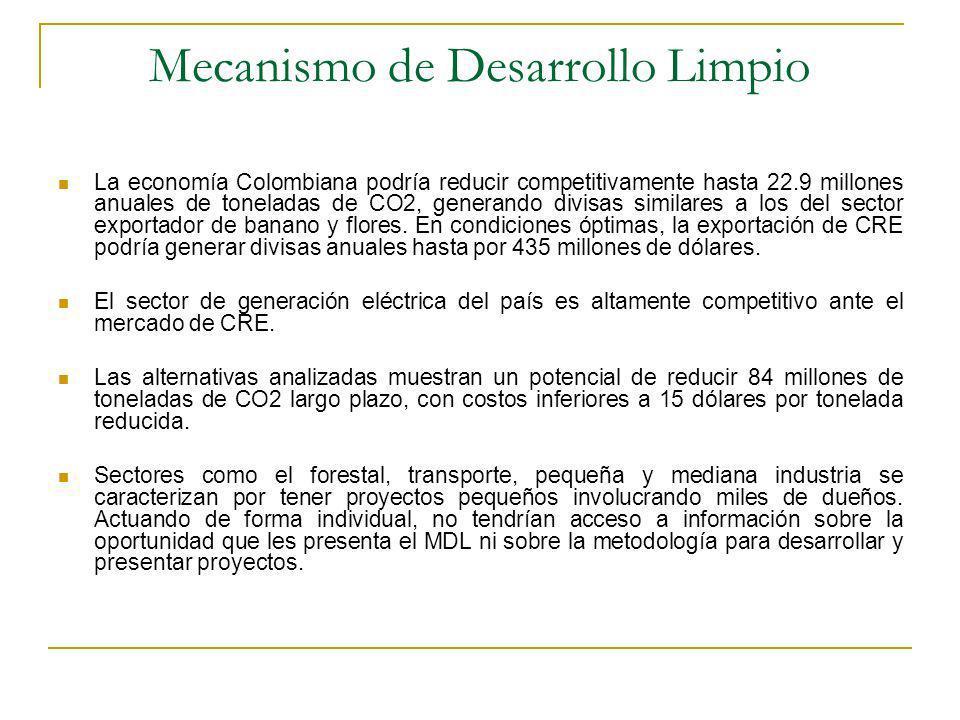 Mecanismo de Desarrollo Limpio La economía Colombiana podría reducir competitivamente hasta 22.9 millones anuales de toneladas de CO2, generando divisas similares a los del sector exportador de banano y flores.