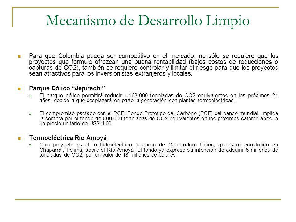 Mecanismo de Desarrollo Limpio Para que Colombia pueda ser competitivo en el mercado, no sólo se requiere que los proyectos que formule ofrezcan una buena rentabilidad (bajos costos de reducciones o capturas de CO2), también se requiere controlar y limitar el riesgo para que los proyectos sean atractivos para los inversionistas extranjeros y locales.