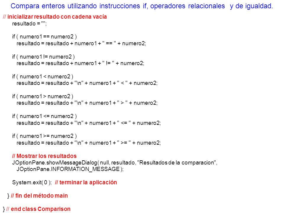 // inicializar resultado con cadena vacía resultado =