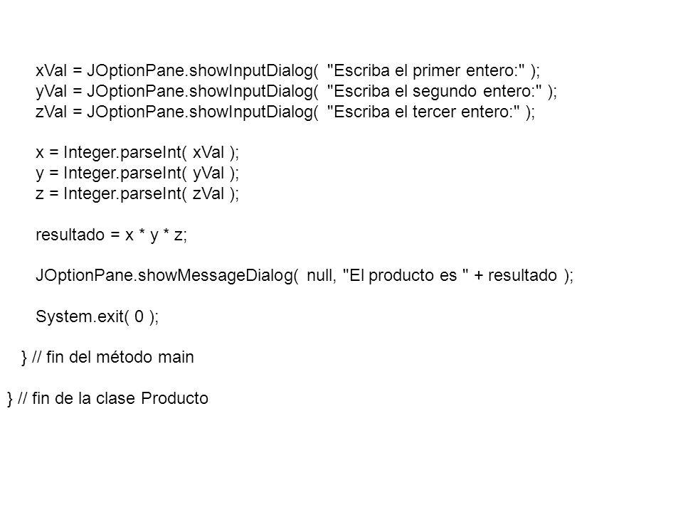 xVal = JOptionPane.showInputDialog(
