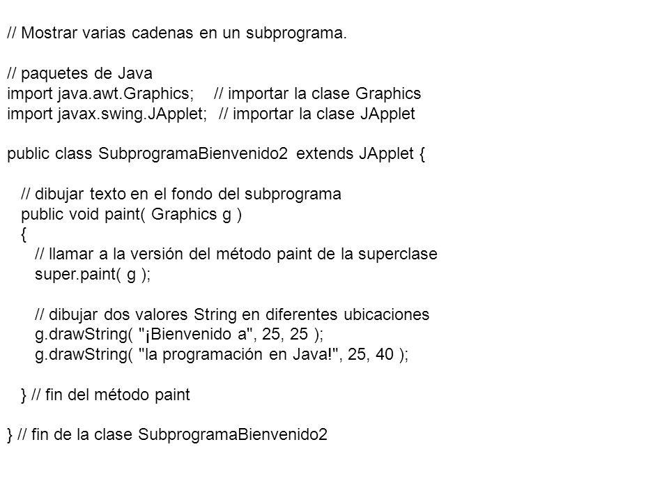 // Mostrar varias cadenas en un subprograma. // paquetes de Java import java.awt.Graphics; // importar la clase Graphics import javax.swing.JApplet; /