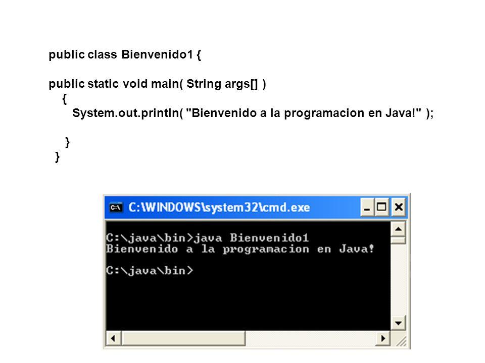 public class Bienvenido2 { public static void main( String args[] ) { System.out.print( Bienvenido a ); System.out.println( la programacion en Java! ); } } Imprimir una línea de texto con varias instrucciones.